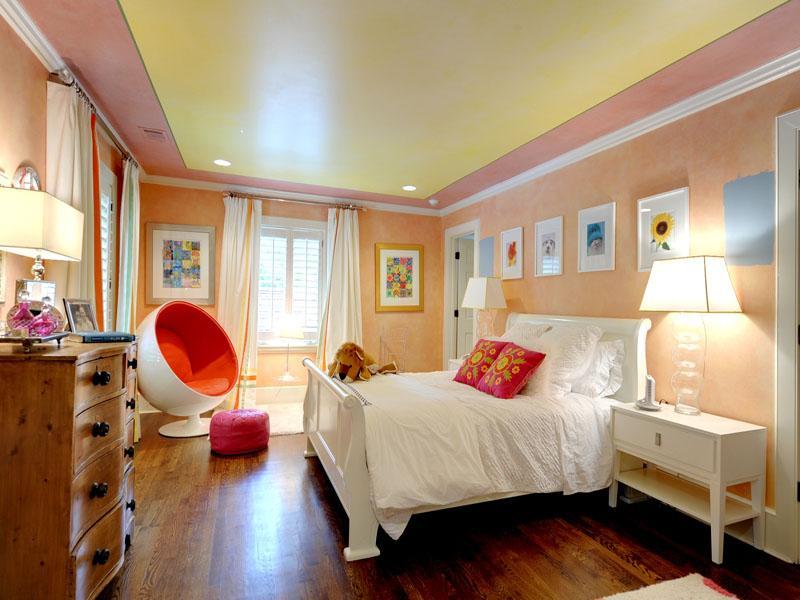 pink orange teenagers bedroom  Interior Design Ideas