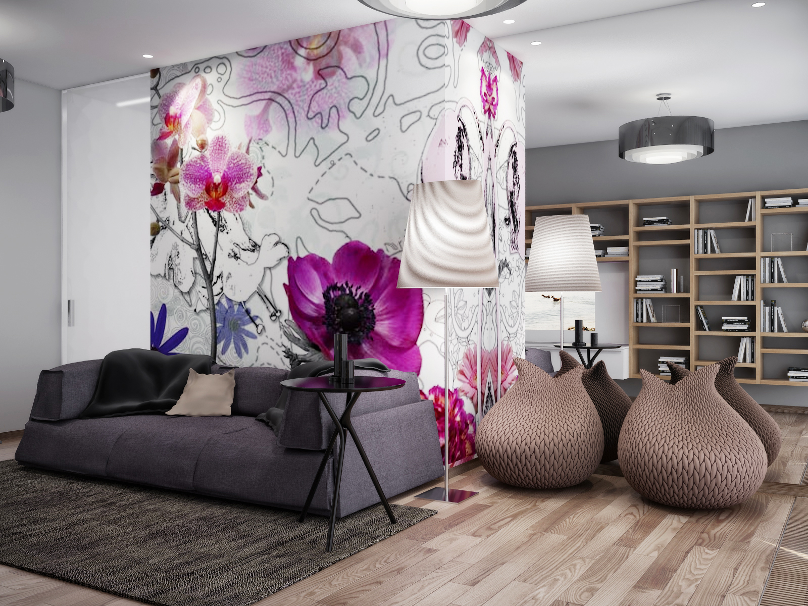Pink White Gray Living Room Mirrored Wall