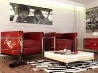 red black white contemporary living room