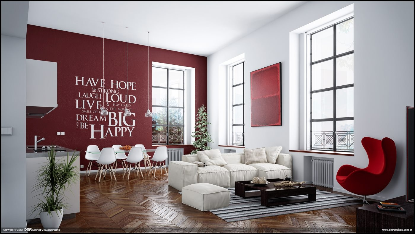 Red White Living Room Wall Decal