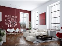 red white living room wall decal | Interior Design Ideas.