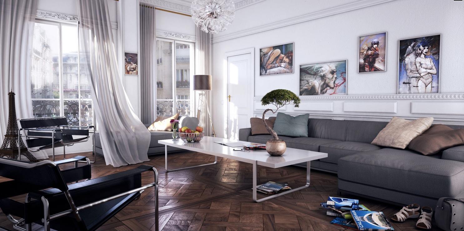 white modern living room gray chaise lounge sofa