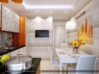 orange gray stripe wall treatment kitchen diner | Interior ...
