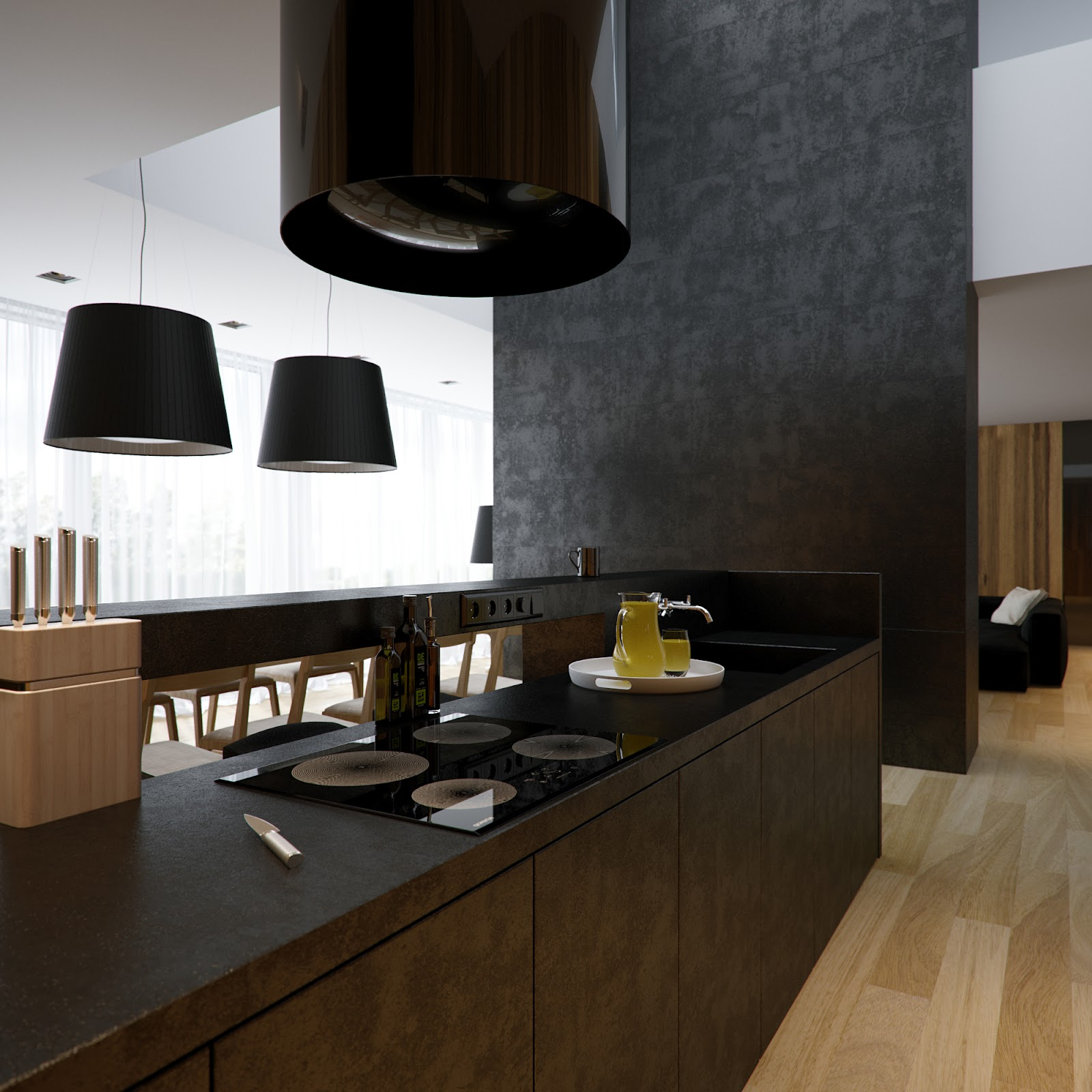 Black white kitchen chimney extractor fan  Interior