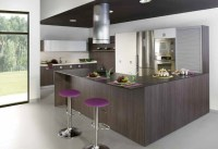 Wenge kitchen cabinets purple bar stools | Interior Design ...