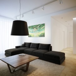 White Sofa Modern Living Room Matching Lamps On Table Minimalist Black And Lofts