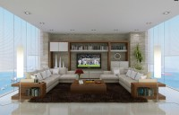 neutral living room L shaped sofas