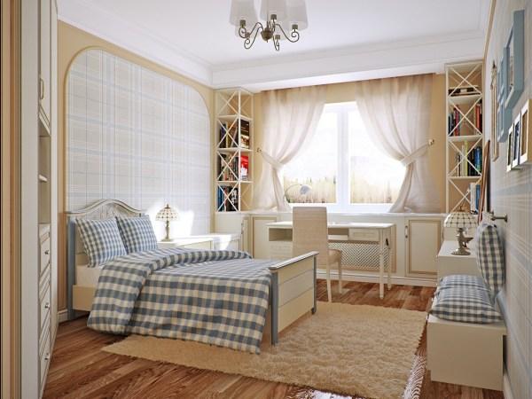 blue and cream bedroom blue cream checkered bedroom | Interior Design Ideas.