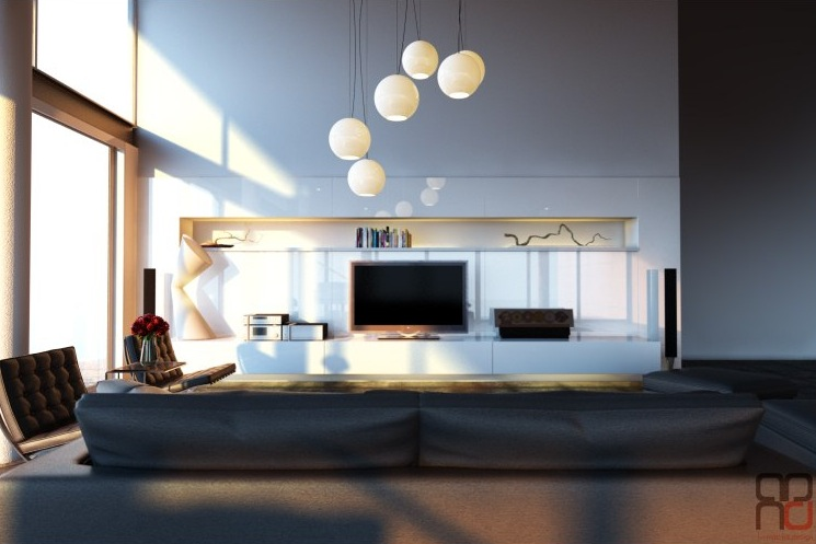 Modern white entertainment wall  Interior Design Ideas