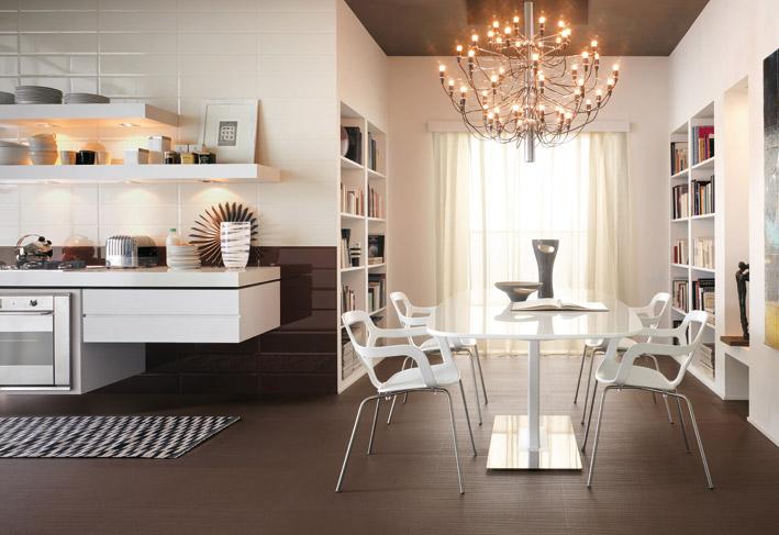 Modern white kitchen chandelier Brick tiles  Interior Design Ideas