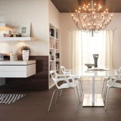 Kitchen Chandelier Ideas Purple Decor Modern White Brick Tiles Interior Design