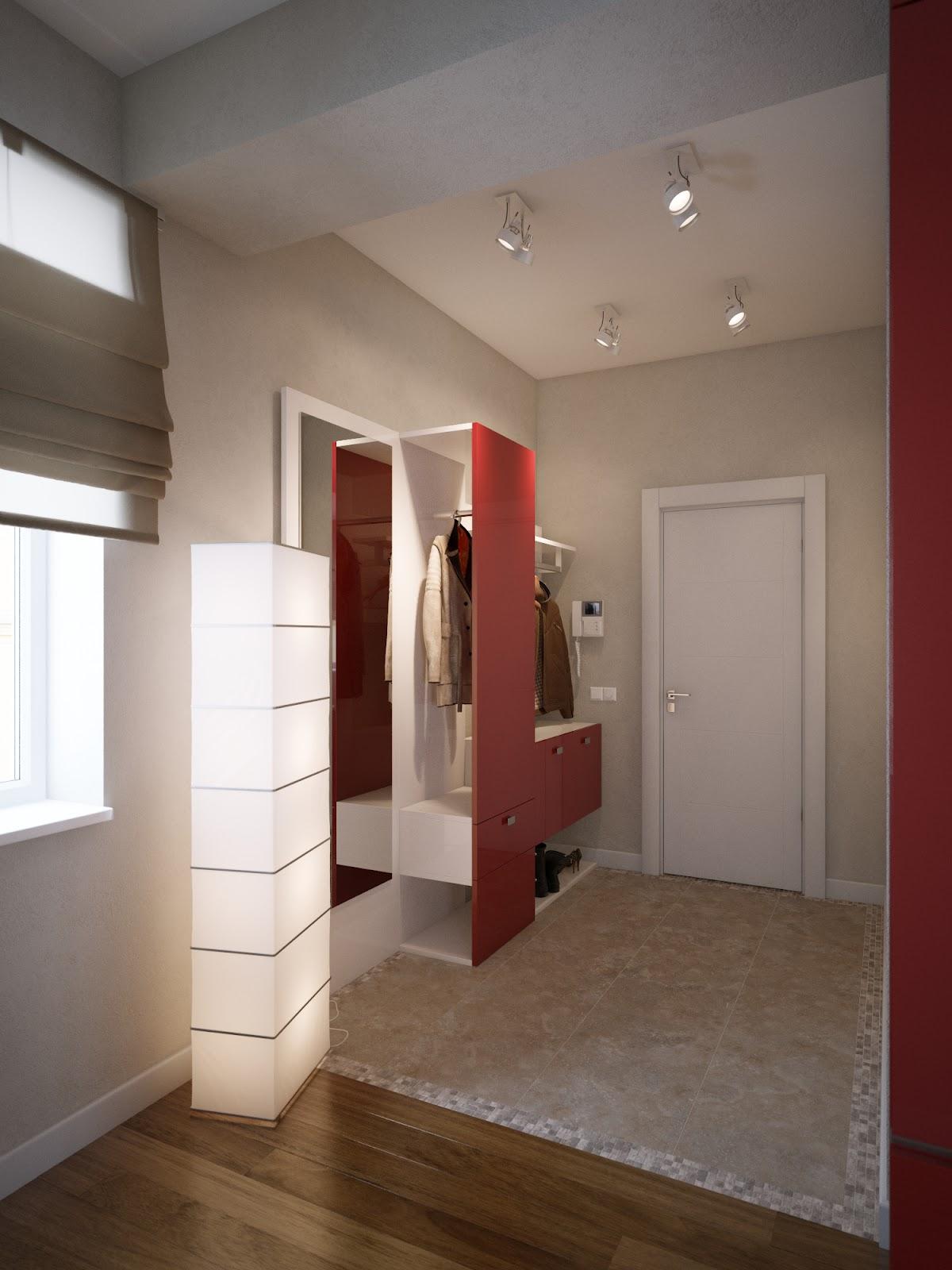 Red white cream hallway storage  Interior Design Ideas