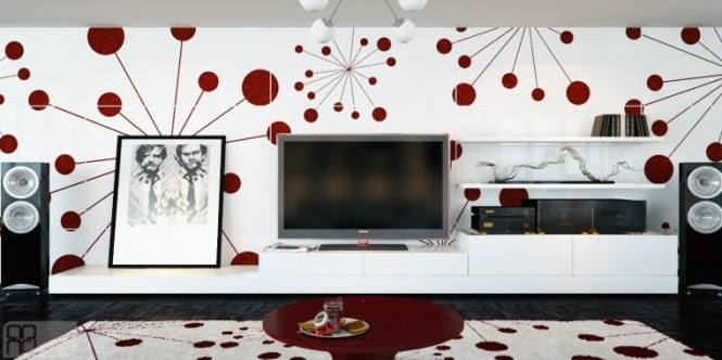 A vivacious feature wall is home to this room's sound and vision equipment, creating a design buzz before the electricity is even turned on. A large rug continues the molecular pattern in bright red on white, and a punchy coffee table pulls the two together on a mid height level.
