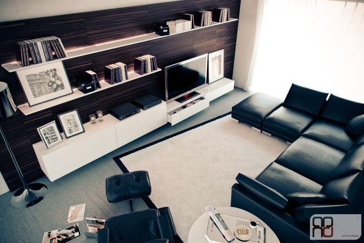 Walnut White Black Living Room Furniture Interior Design