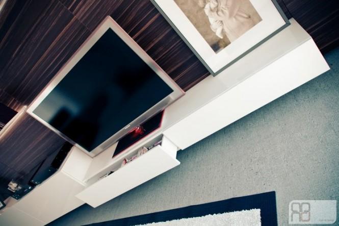Walnut white television cabinet