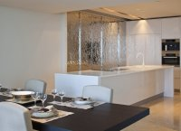White kitchen island silver feature wall | Interior Design ...