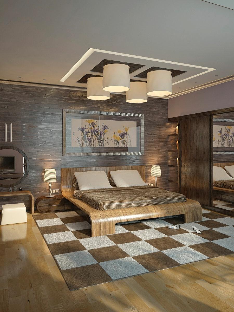 Brown cream modern bedroom  Interior Design Ideas