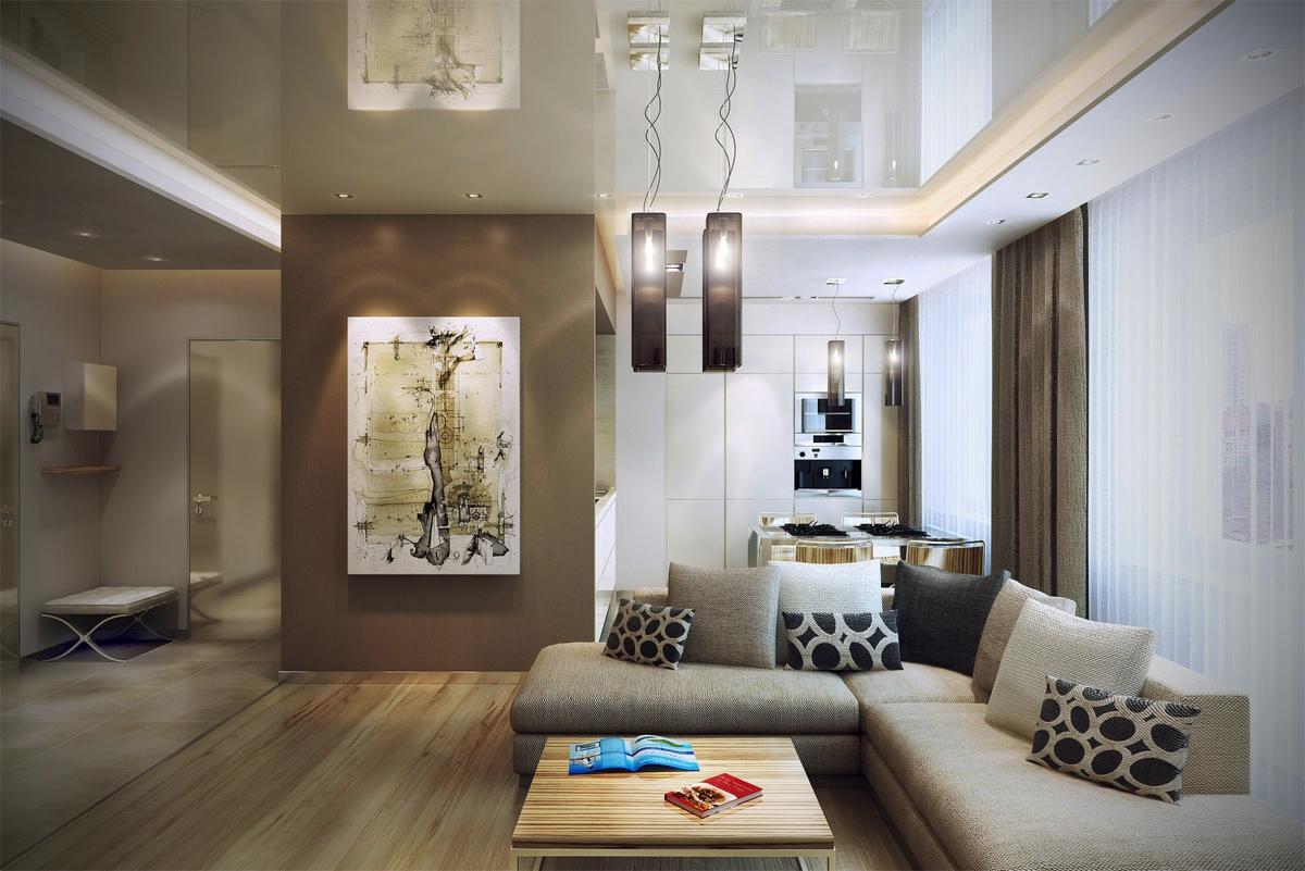 Brown cream open living room  Interior Design Ideas