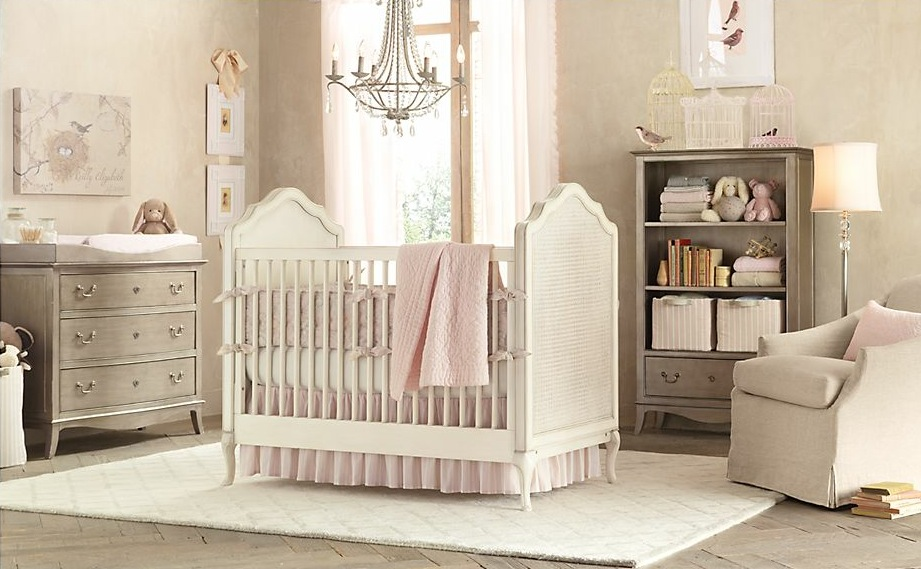 Gray pink baby girls room