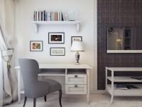 Gray white home office design | Interior Design Ideas.