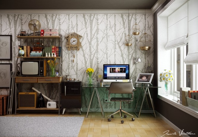 Home office tree wallpaper pattern
