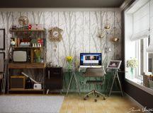 Home office tree wallpaper pattern | Interior Design Ideas.