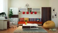 Red white living room office decor | Interior Design Ideas.