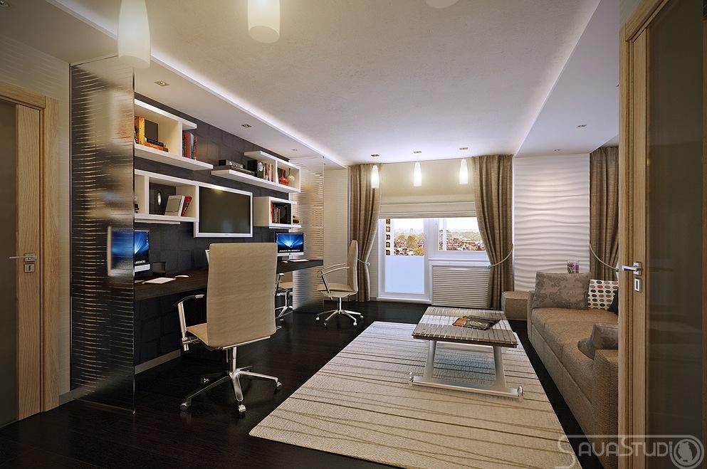 White Brown Home Office Interior Design Ideas
