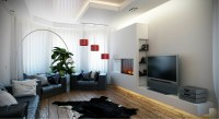 Black white red living room