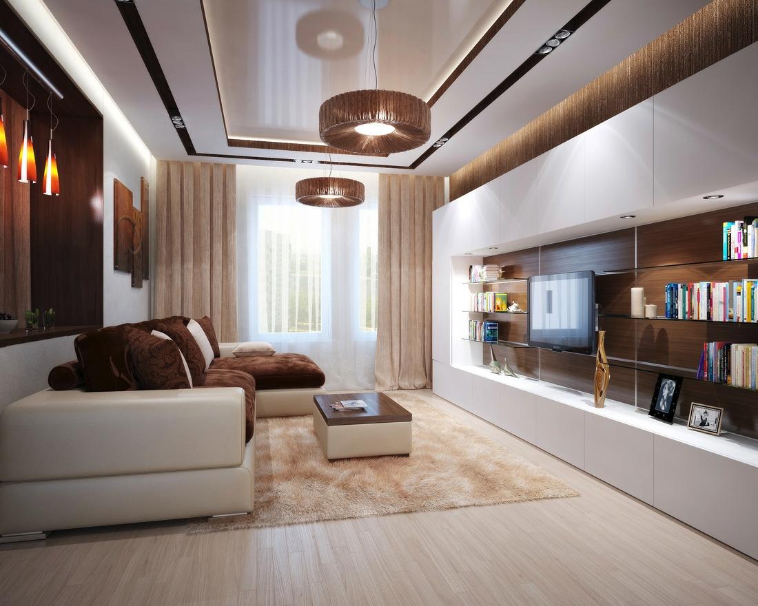 Brown cream living room L shaped sofa  Interior Design Ideas