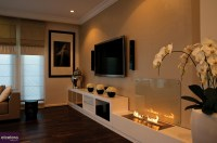 Contemporary open flame fireplace | Interior Design Ideas.