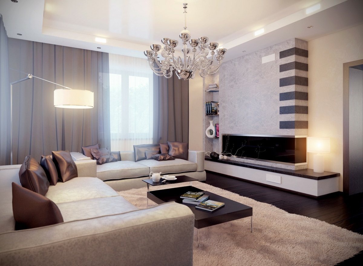 Glamorous neutral living room  Interior Design Ideas