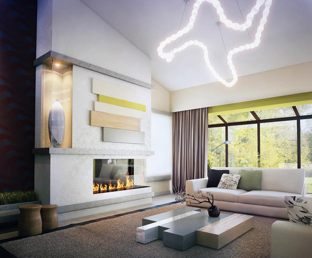 Green white neutral living room decor