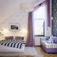 Lilac white black girls room