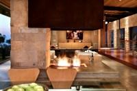 Modern open fireplace