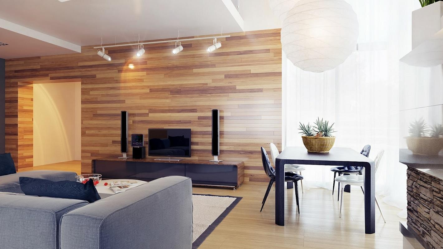 Neutral living room wood clad walls  Interior Design Ideas
