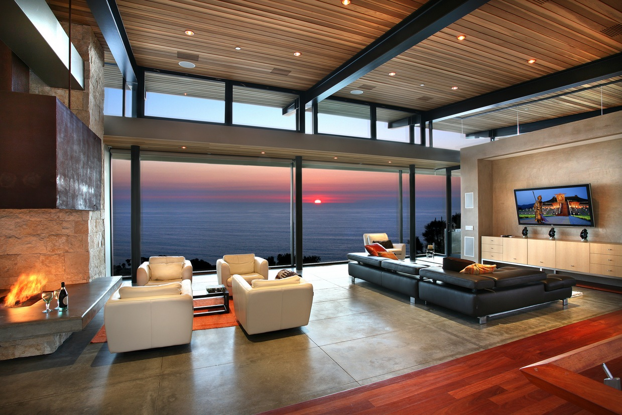 Panoramic Ocean View Modern Living Room Interior Design Ideas Part 95