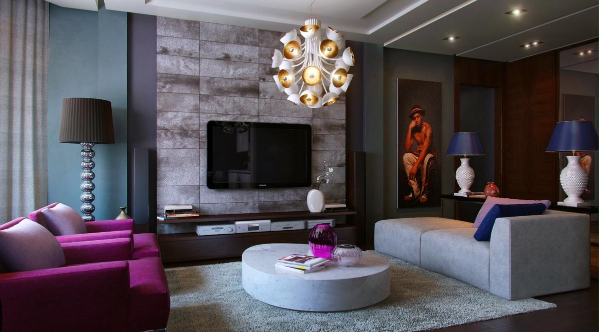 Purple teal slate living room  Interior Design Ideas