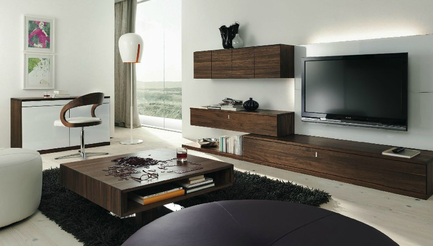 modern living room wooden furniture ideas with light brown couches in a contemporary setting