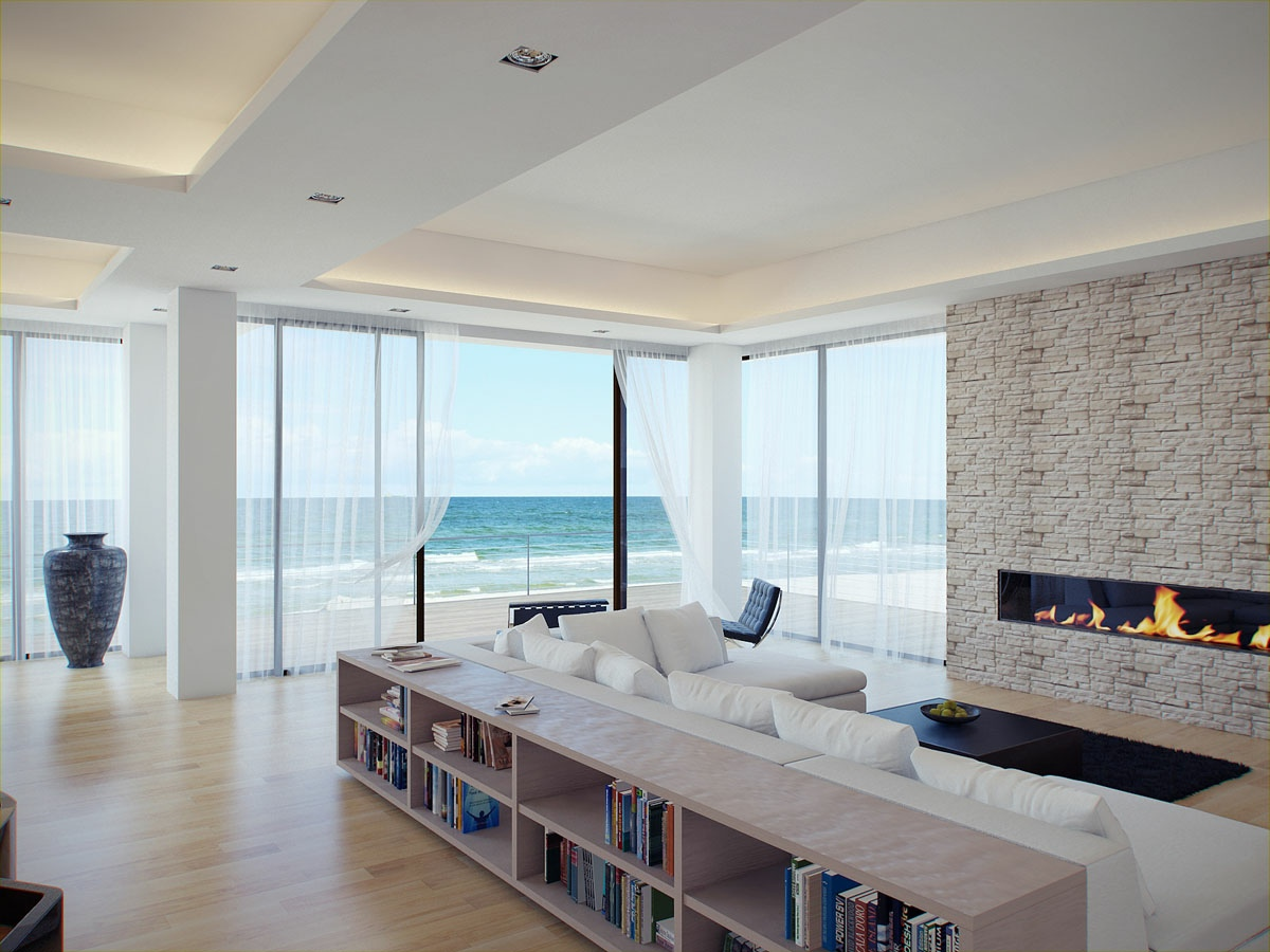White living room stone fireplace  Interior Design Ideas
