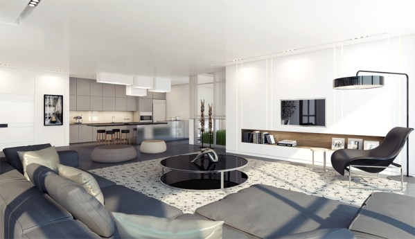 black white and gray living room Apartment Interior Design Inspiration