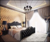 Black gold bedroom design | Interior Design Ideas.