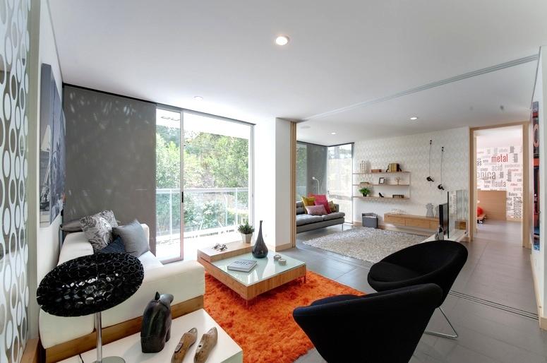Black orange gray living room  Interior Design Ideas