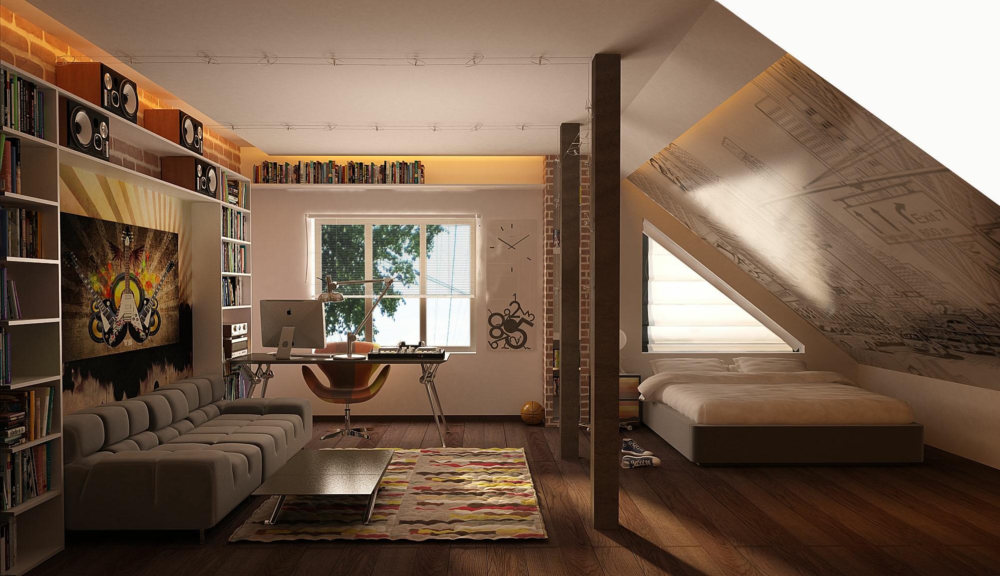 Cool teenage attic room  Interior Design Ideas