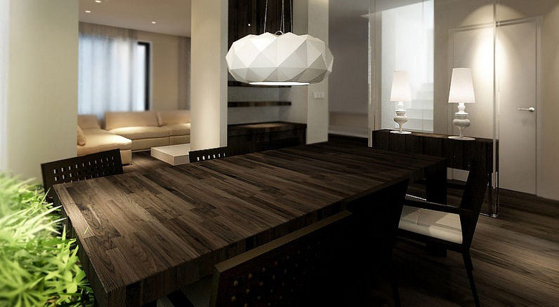 dark kitchen table appliance suite wood dining interior design ideas
