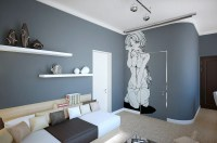 A Room Decorated In Two Distinct Styles