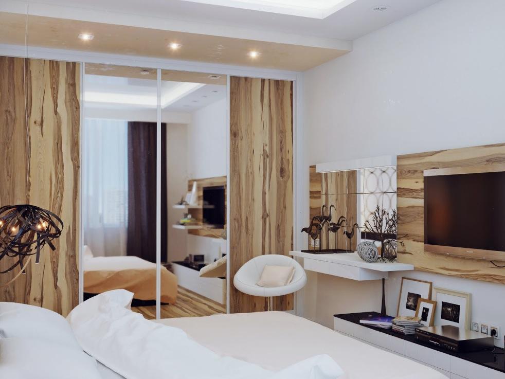 White and wood bedroom design  Interior Design Ideas