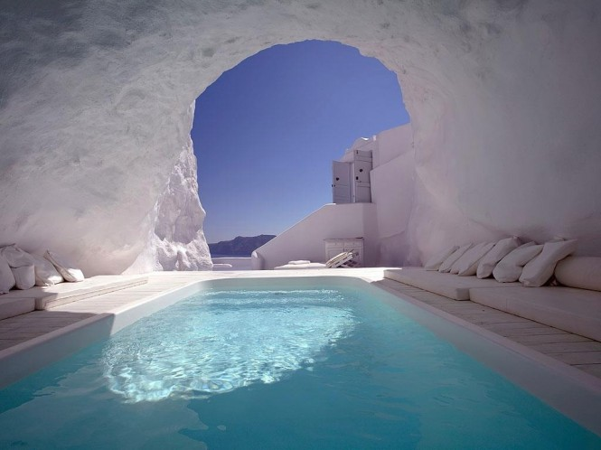 The Katikies Hotel, Santorini, hold a poolside patio hangout like no other.