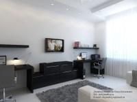 Black desk white home office | Interior Design Ideas.