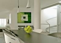 Green white gray dining room | Interior Design Ideas.